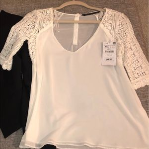 NWT Zara White Sheer V-Neck Crochet Sleeved Blouse